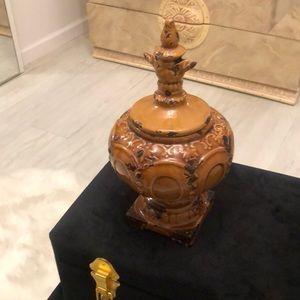 French Ceramic Decorative Jar Tan